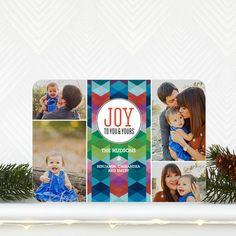 'Geometric Joy' #Holiday Photo Card in Gibraltar Blue. #Christmas