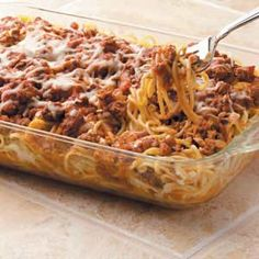 easy baked spaghetti, Its eats like spaghetti but with that extra cheesy goodness like lasagna! Definite win!