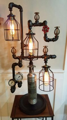 Industrial Steampunk Lamp / Light with Vintage Fire
