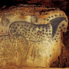 Spotted Horse and Human Hand, Pech-Merle Cave, Paleolithic (France, c. 25,000-24,000 BCE. 15,000 BCE)