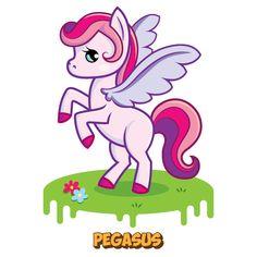 Pink pegasus. A set of cute magic creatures vector characters by illustrator and character designer Catherine Uvarova. See more on Behance! #unicorn #pegasus #dwarf #elf #dragon #angel  #horse #pony #sweetness #cartoon