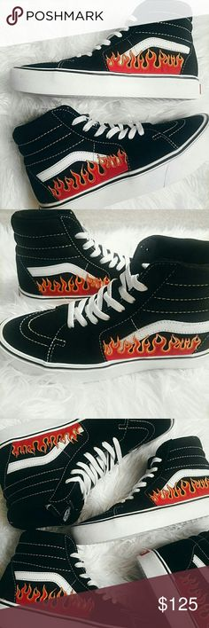 424200a3f6 Custom Flame Sk8-Hi Vans These are handmade and will take up to 2 weeks