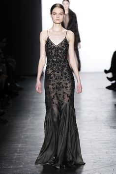 Dennis Basso | Fall 2016 Ready-to-Wear | 51 Black beaded strappy maxi dress