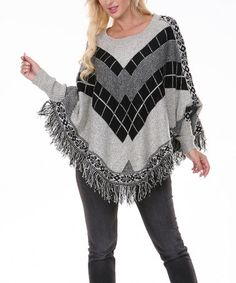 Look at this #zulilyfind! Black & Gray Square Round-Hem Poncho - Women by Venice Blue #zulilyfinds