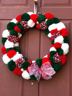 Excited to share the latest addition to my #etsy shop: Christmas PomPom Wreath #homedecor #christmas #pompomwreath #christmaswreath Silver Christmas, Simple Christmas, Christmas Home, Christmas Crafts, Christmas Trees, Christmas Yarn Wreaths, Mason Jar Christmas Decorations, Paper Flower Wreaths, Pom Pom Wreath
