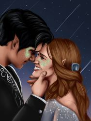 """Rhysand and Freye in A Court of Mist and Fury by Sarah J Maas """"Do you—do you want to dance with me?"""" I whispered.He was silent for lon. A Court Of Wings And Ruin, A Court Of Mist And Fury, Desenhos Love, Feyre And Rhysand, Sarah J Maas Books, Throne Of Glass Series, Crescent City, Look At The Stars, Fan Art"""