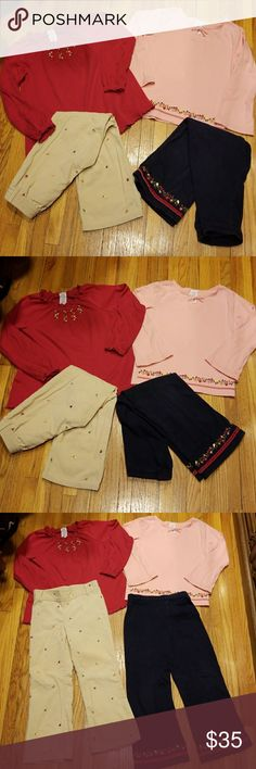 """Gymboree Apple for the Teacher pants & shirts 5 Gymboree """"Apple For The Teacher"""" size 5.  Khaki corduroy pants w embroidered fruits & flowers, navy cotton pants w embroidered fruit & velvet ribbon on  bottom, Red swing top w embroidered fruits &crochet accents, pink top w embroidered fruit & velvet ribbon.  All in excellent condition.  Pink top has a couple of very light marks please see pictures. Gymboree Matching Sets"""