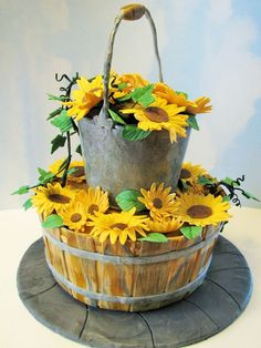 www.cakecoachonli… – sharing….Country Wedding Cake Mm Fondant For Bucket And Basket Effects Gumpaste Flowers