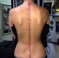 My latest tattoo! Now I have a pretty awesome spine! #tattoo #spine #script