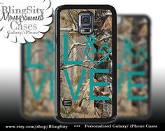 Buck Doe Love Heart Galaxy S4 case S5 Camo Turquoise by BlingSity