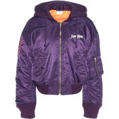 Vetements Printed Jacket featuring polyvore, women's fashion, clothing, outerwear, jackets, purple and purple jacket