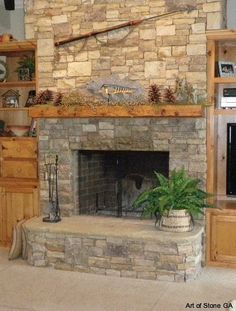 stacked stone veneer fireplace - Google Search
