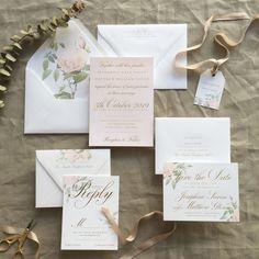 Wedding Pretty: Floral Rose Wedding Invitations by b.t.elements   the pretty crusades