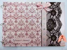 Livro De Assinaturas Marrom Com Rosa - R$ 115,00