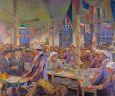 Christmas Day in the London Bridge Young Men's Christian Association Canteen Clare Atwood - 1920