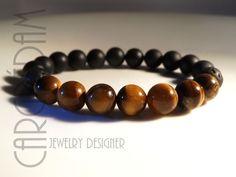 Bracelet de pierres créateur oeil de tigre onyx noir mat et lave : Bijoux pour hommes par shamballa-s-cargredam1