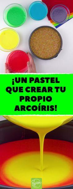 Receta de postres: pay de queso arcoíris sin hornear. #cheesecakefrio #cheesecakesinhorno #paydequesosinhornear #paydequesosinhorno #Rainbow #cheesecake #recetadepostres #tarta #pastel #queso