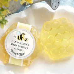 """Our """"Mommy to Bee"""" honey scented honeycomb soaps are sure to make a buzz as a creative baby shower favor! Delightfully honey-scented soap in comes in protective shrink-wrap with a mommy and baby honeybee graphic."""