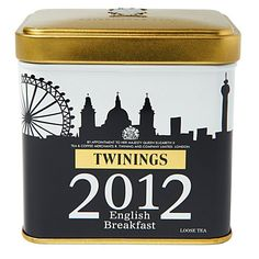 A limited edition white tea caddy to commemorate the celebratory year of 2012; contains 100g of Twinings' popular English Breakfast loose tea, which is an invigorating amber coloured tea with a full bodied taste. Can be drunk with or without milk or sugar.