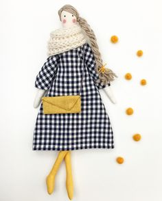 Handmade Doll / Rag Doll / Tilda Doll for mustard yellow lovers