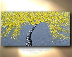ORIGINAL Blue Silver Sapphire Flower Tree Painting by tjenkinsarts
