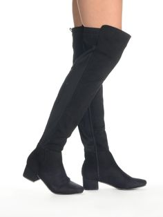 Slight Block Heeled Over The Knee Boot with Back Lycra Panel | BOBBI | Linzi | Women's Shoes, Boots & Sandals