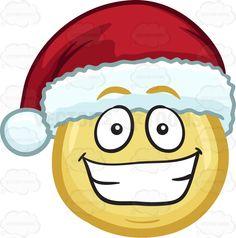 A grinning emoji wearing a Santa hat #cartoon #clipart #vector #vectortoons #stockimage #stockart #art