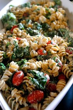 creamy lemon fusilli. Delicious the first time I made it, and then I tried to use nonfat half and half and nonfat ricotta the next time. Lesson learned. The recipe is fairly healthy to begin with, so stick with regular half and half and ricotta. Otherwise, your sauce will be super runny.