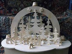 Hübscher Schwibbogen mit Strom+Kerzenschalen,Handarbeit,aufwändig+schön,Krippe