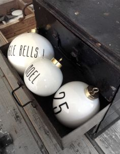 ♥Ornaments with holiday significant words or numbers!!! Bebe'!!! Simple but effective and festive!!!