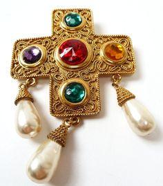 CHANEL Large Ornate Gilt Multi-color Stones Simulated Baroque Pearls Cross Pin/Pendant