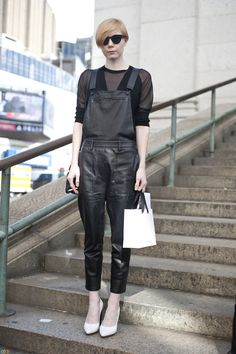 3.1 Phillip Lim leather overalls | Photo by Dana Paun / The Color Stalker