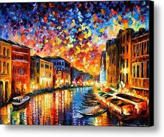 Venice - Grand Canal Canvas Print / Canvas Art By Leonid Afremov