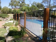 32 Awesome Stylish Pool Fence Design Ideas - Swimming pool fences are expected to secure babies and little youngsters. These systems keep kids from the dangers of suffocating and let them approac. Backyard Pool Landscaping, Backyard Fences, Landscaping Ideas, Desert Backyard, Backyard Ideas, Aluminum Pool Fence, Metal Pool, Wooden Pool, Glass Pool Fencing