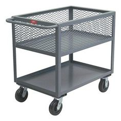 Utility Cart, 4 Mesh Sides, 2 Shelf, 18x36 by Jamco. $464.28. Utility Cart, 4 Mesh Sides, Load Capacity 2400 lb., Welded Steel Construction, Gauge Thickness 12, Powder Coat Finish, Color Gray, Overall Length 42 In., Overall Width 19 In., Overall Height 36 In., Number of Shelves 2, Caster Size 6, Caster Type 2 Rigid, 2 Swivel, Caster Material Phenolic, Capacity per Shelf 1200 lb., Distance Between Shelves 13 In., Shelf Length 36 In., Shelf Width 18 In., 1-1/2 In. Li...
