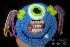 Crochet One eyed monster camera lens buddy