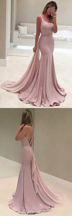 Long Prom Dresses Pink, One Shoulder Prom Dresses Trumpet/Mermaid, Chiffon Formal Party Dresses Beading, Backless Evening Pageant Dresses 2018 Elegant