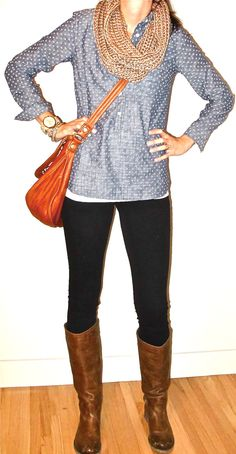 denim blue blouse, white undershirt, dark jeans or black leggings, tall boots