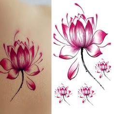 Hermosas mujeres flor de Loto tatuaje Pegatinas Temporales Del Tatuaje Del Arte…
