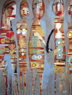 """Ladies Night"" 20 x 14, mixed media collage on canvas. www.scottbergey.com"