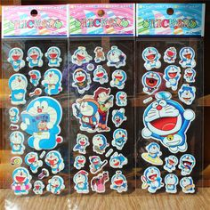 2016 New 50Sheets/lot Cartoon Doraemon 3D Bubble Stickers Classic Toys Kids School Reward Stickers Decoration Christmas Gift #Affiliate