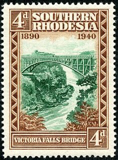 "Southern Rhodesia  1940 Scott 61 4d brown & blue green ""Victoria Falls Bridge"""