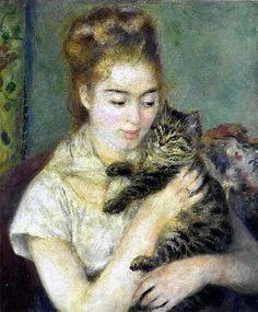 """Mujer con gato"" (1875) Renoir"