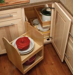 pull out corner base cabinet. great idea for the corner