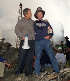 Firefighter with President Bush.