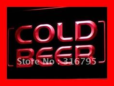 i348 Cold Beer Bar Pub Club OPEN NEW LED Neon Light Sign On/Off Switch 7 Colors 4 Sizes