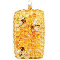 Honeycomb With Bees Glass Ornament $22.99