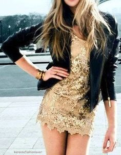 party dress! Paired with black leather jacket