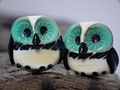 Venus and Serena lampwork owl bead pair sra FREE by DeniseAnnette, $16.00