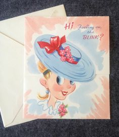Vintage Greeting Card Get Well Hit Parade of Winking Blonde Animated Unsigned